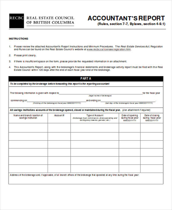 financial accounting report form