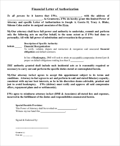 financial authorization letter in pdf
