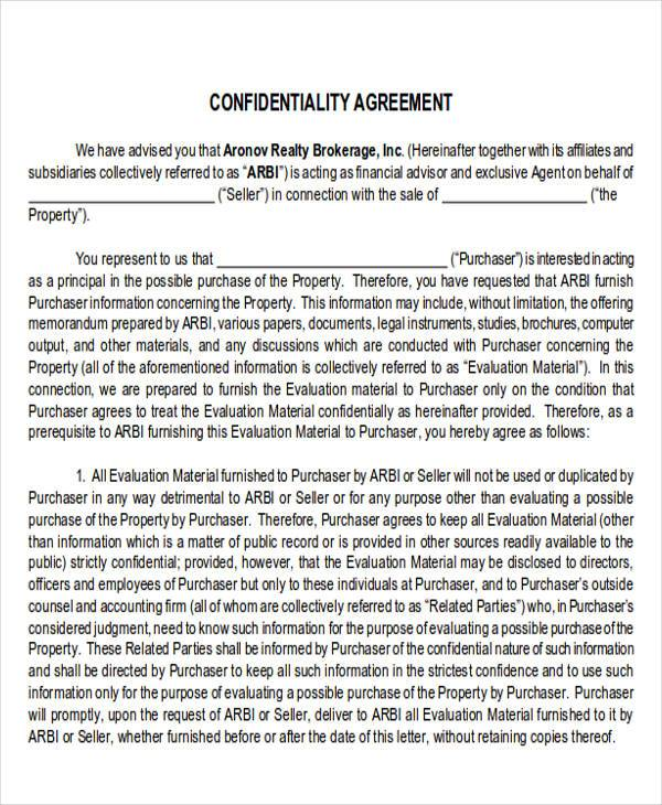 financial confidentiality agreement
