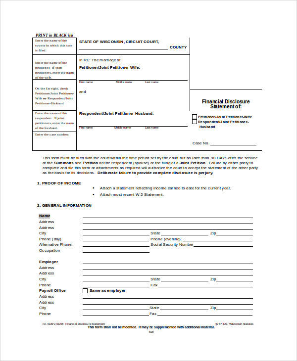 26 sample statement forms in doc