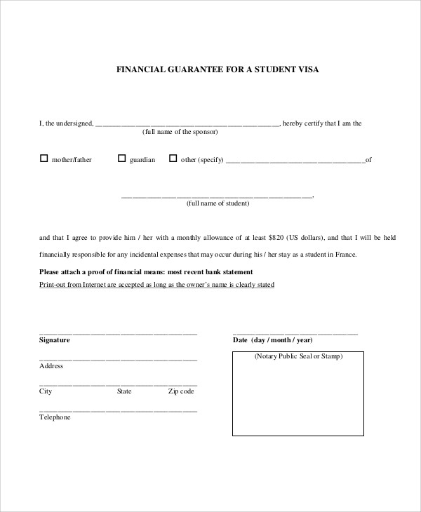 financial guarantee letter for student visa