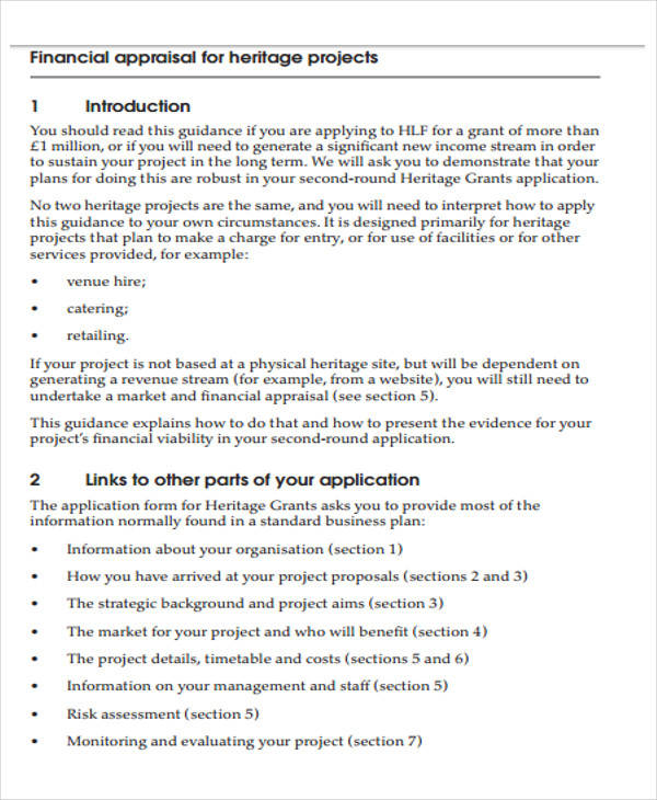 financial projects appraisal format