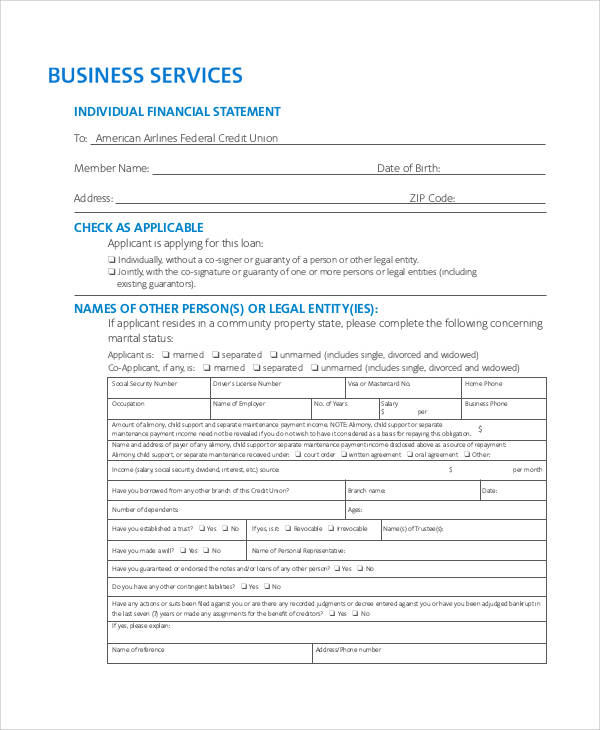 financial statement individual form1