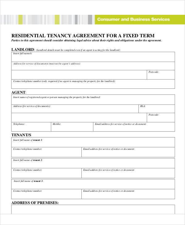 fixed term business tenancy agreement