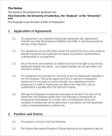 fixed term individual employment agreement