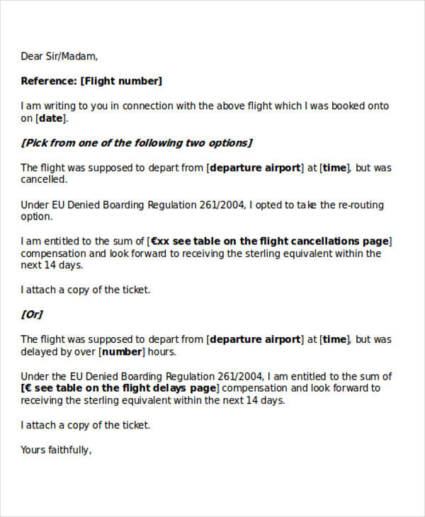 flight cancellation letter flight cancellation request letter