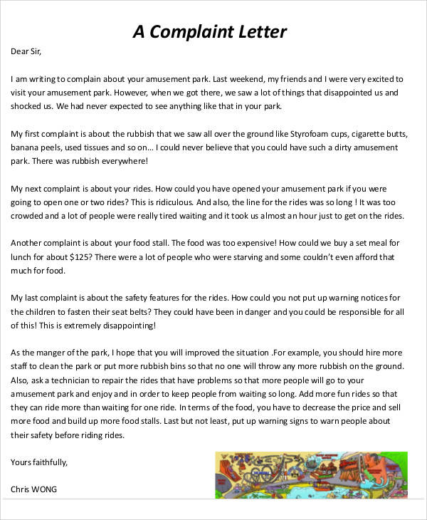 food complaint letter example
