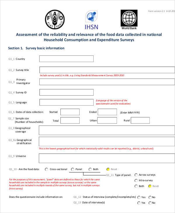 food expenditure survey form