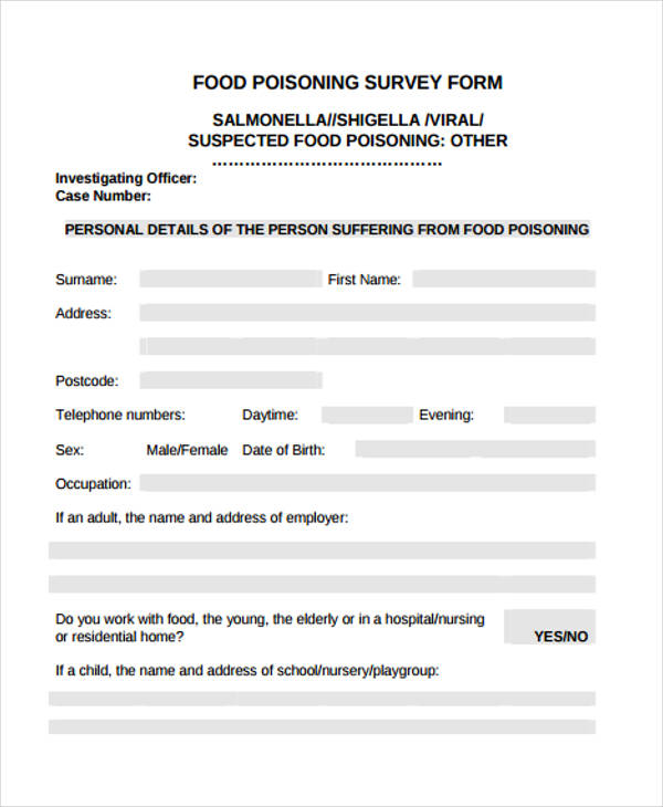 food poisoning survey form