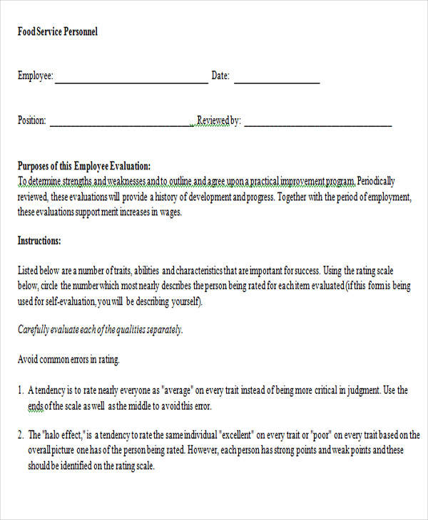food service evaluation form