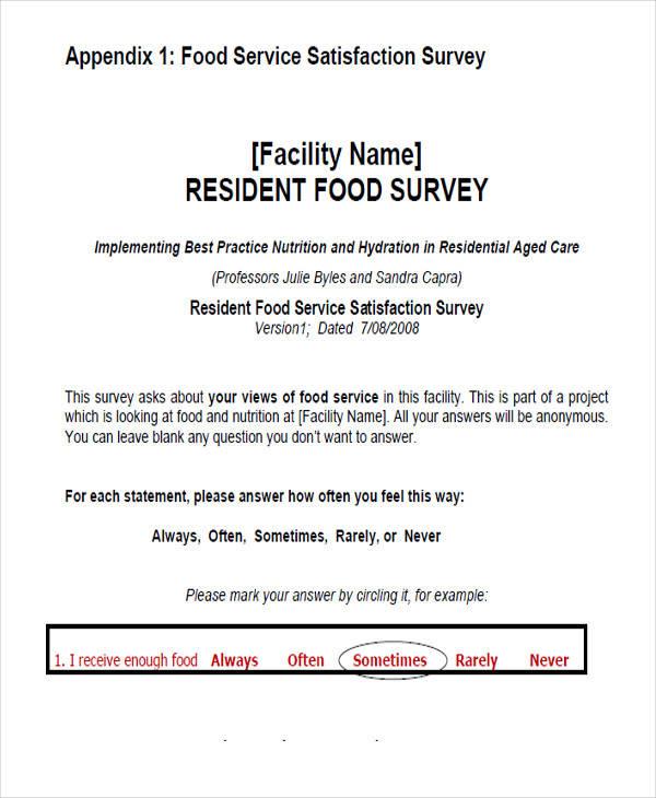 food service survey form