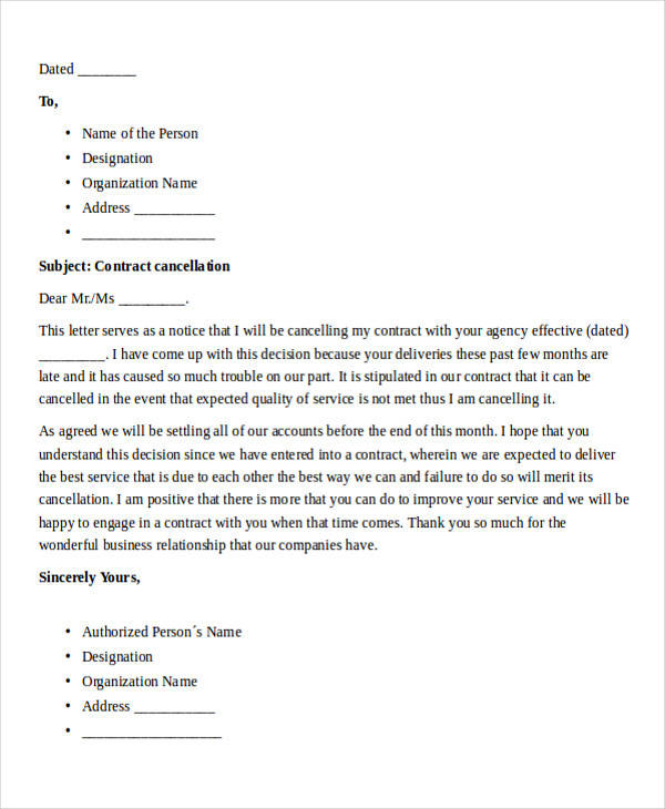 food service termination letter