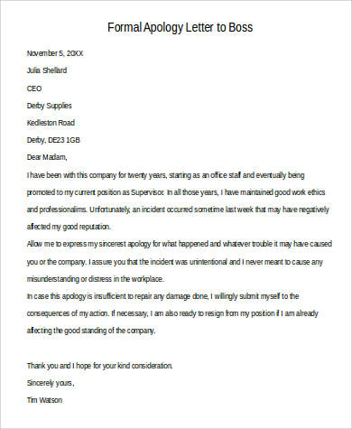 formal apology letter to boss