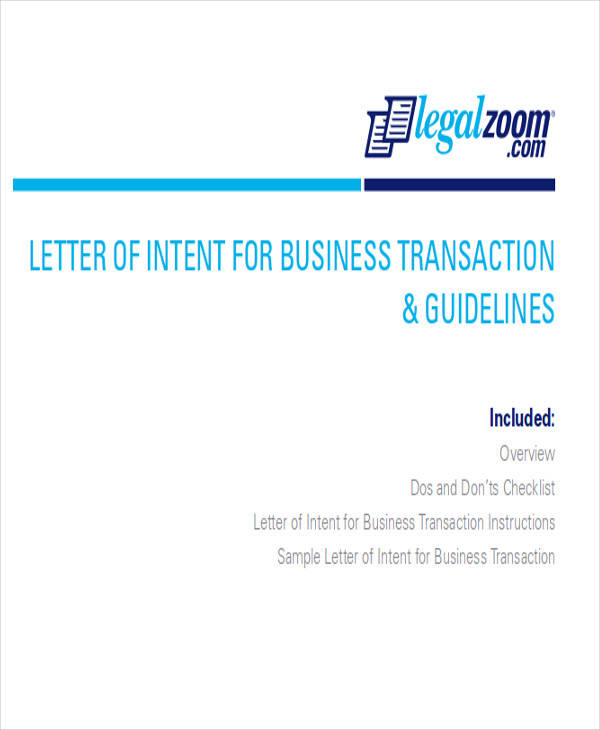 formal business letter of intent