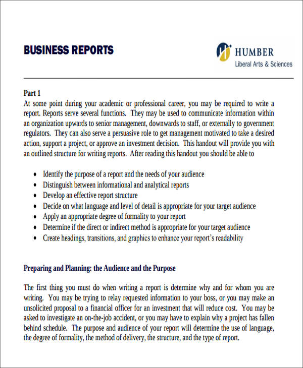 how to write business report sample