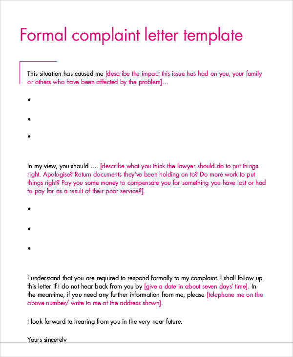 37 complaint letter samples sample templates formal complaint letters formal business complaint letter format spiritdancerdesigns Images