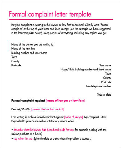 21 complaint letters in pdf sample templates formal complaint letter3 expocarfo Gallery