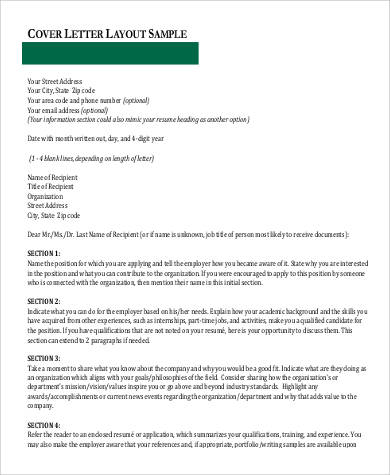 formal cover letter layout