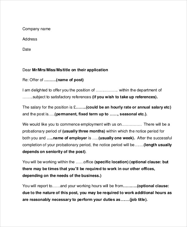 formal job letter examples