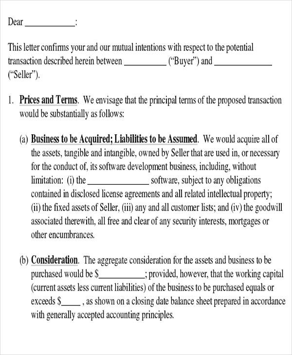 formal letter of intent to client
