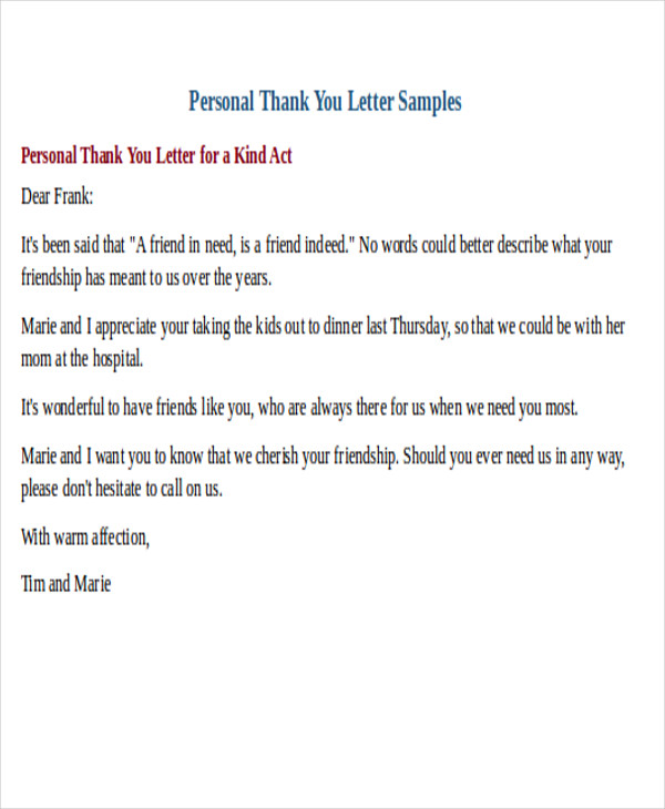32 Sample Thank You Letter Formats – Personal Thank You Letter