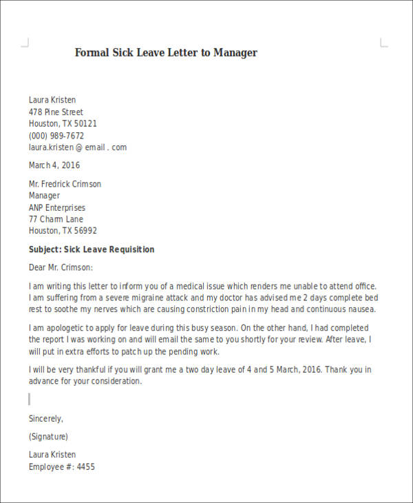 6 Sample Formal Sick Leave Letters