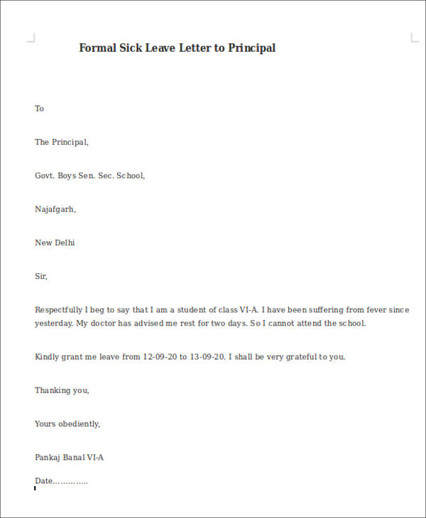 Sample Formal Sick Leave Letters - 5+Examples In Word, Pdf