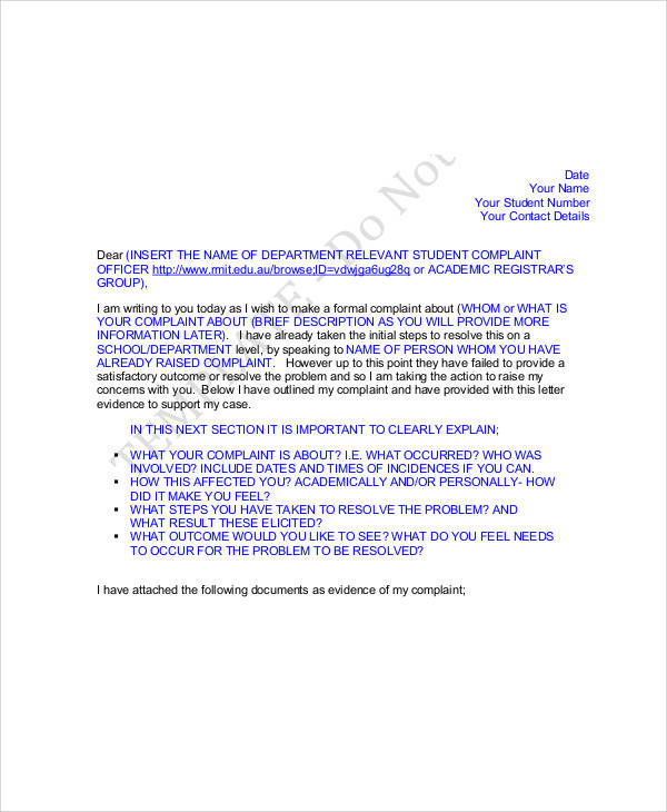 formal student complaint letter1