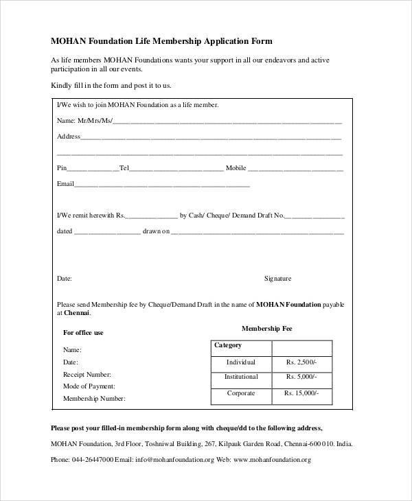 foundation membership application form