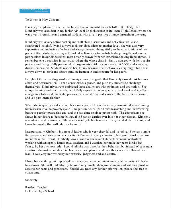 9+ Sample High School Recommendation Letter - Free Sample, Example