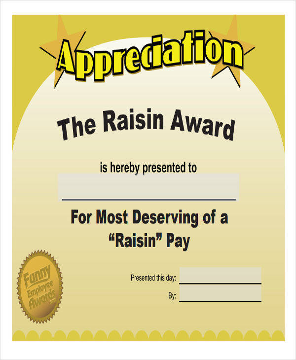 free printable appreciation award certificate