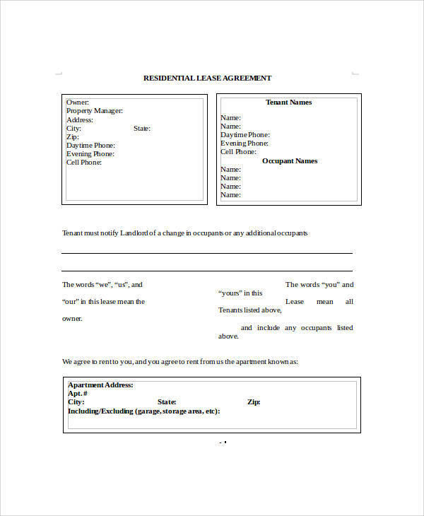 6 Sample Rental Lease Agreement Forms Sample Templates