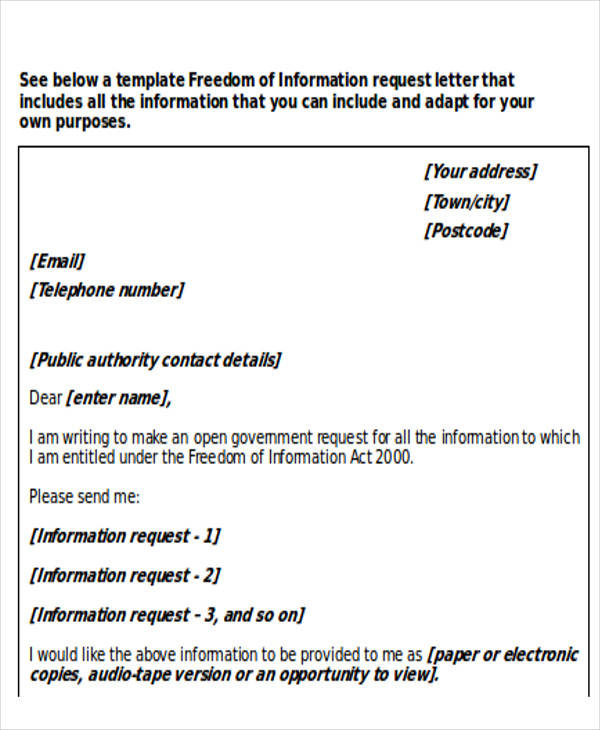 freedom of information request letter