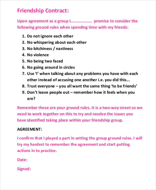 friendship agreement contract