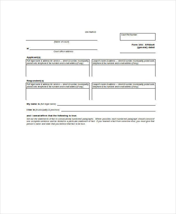 general affidavit statement form