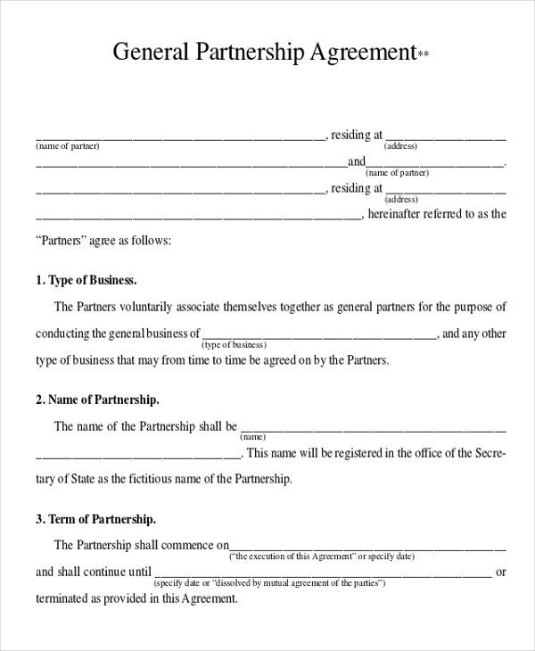 general business partnership agreement form