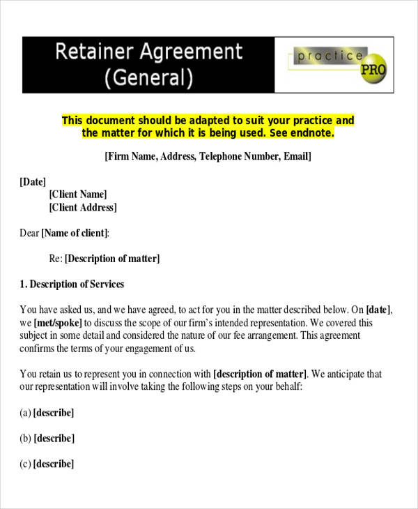 general consulting retainer agreement