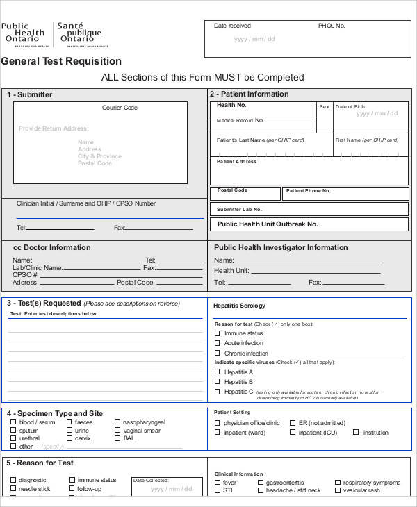 general laboratory requisition form
