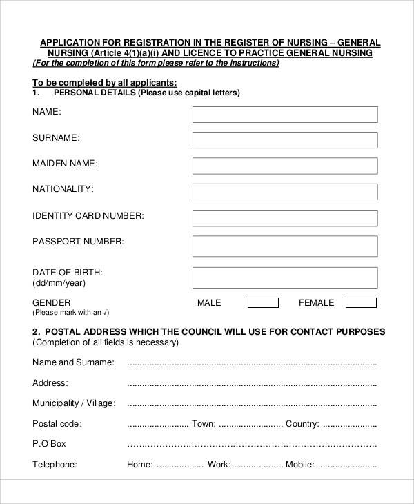 general nursing registration form