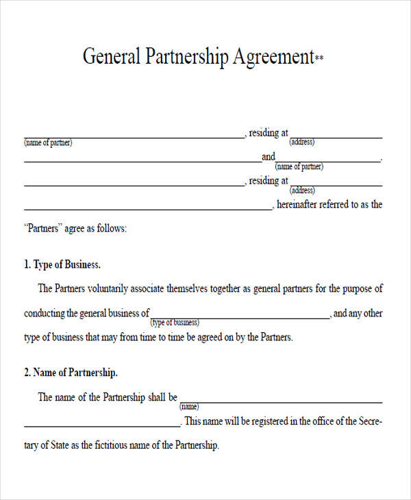 general partnership agreement form1