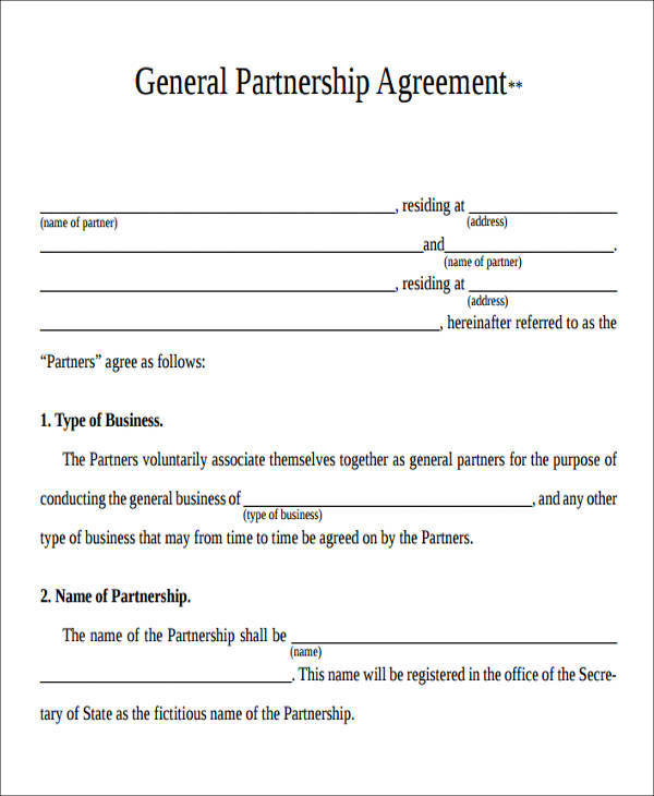 Partnership Agreement Form Agreement Form Format