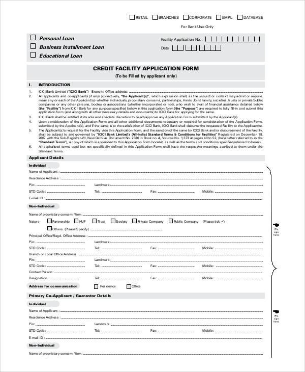 generic credit facility application form