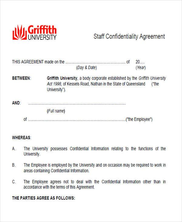 generic employee confidentiality agreement