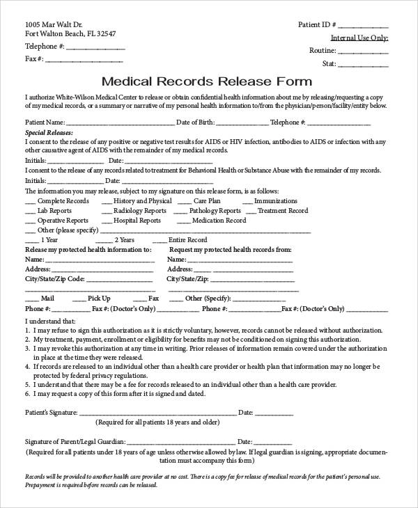 generic medical records release form