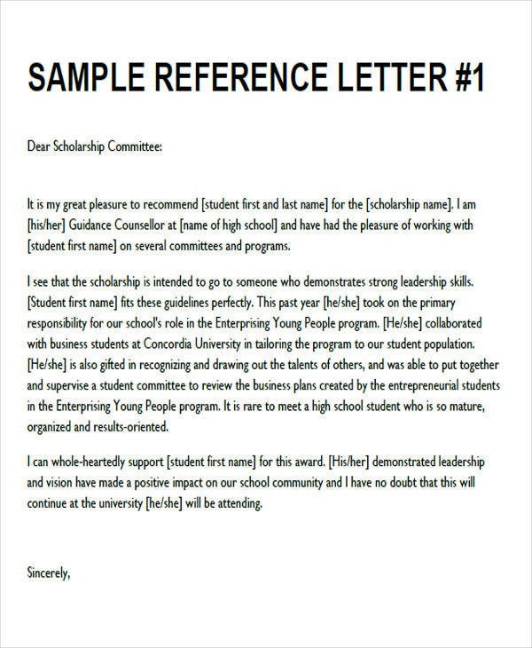 8  sample generic recommendation letter