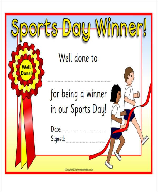 generic sports award certificate