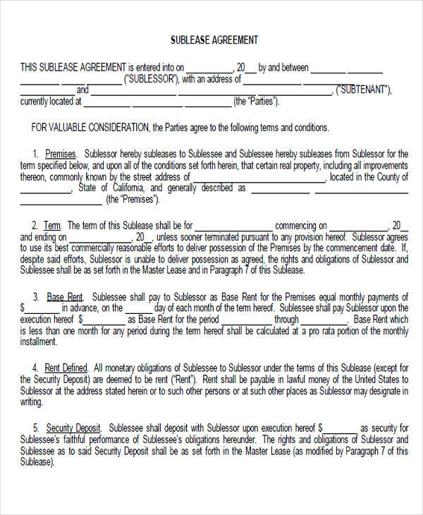 generic sublease agreement form2