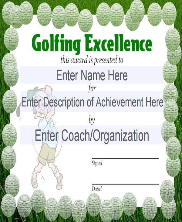 golf sport certificate1