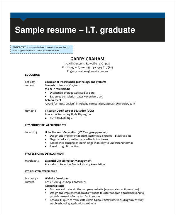 It Resume Sample 16 Examples In Word Pdf