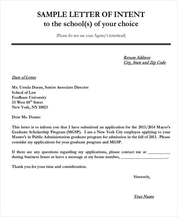 letter of intent for scholarship 60 sample letter of intent 20897 | Graduate School Admission Letter of Intent